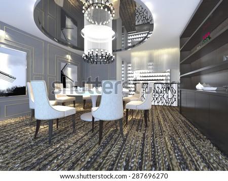 3D interior luxury design - stock photo