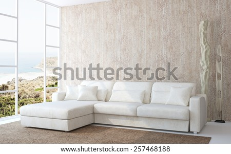 3D interior. Modern living-room interior with white couch near empty beige wall. Photo behind the window was made by me. - stock photo