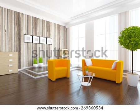 3d interior of a living room  - stock photo