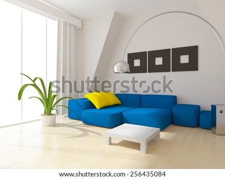 3D interior of a living room with blue sofa - stock photo