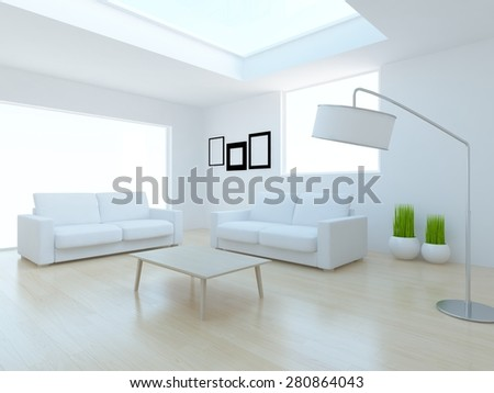 3d interior of a white living room