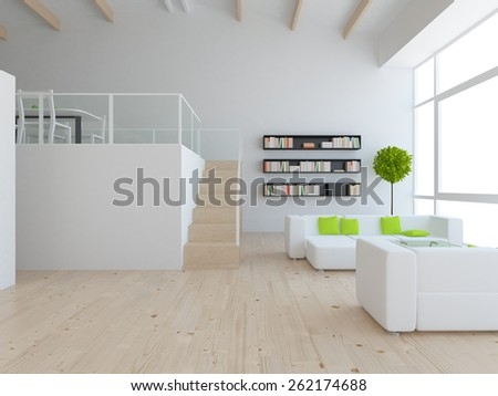 3d interior of a white loft - stock photo