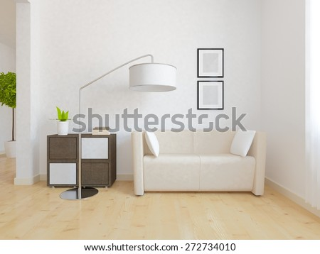 3d interior of a white room with beige furniture - stock photo