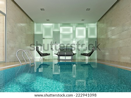3d interior of swimming pool