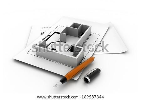 3d interior plan - stock photo