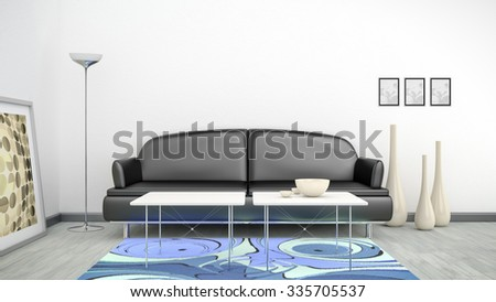 3d interior render image of a black sofa in a white room with space for your content