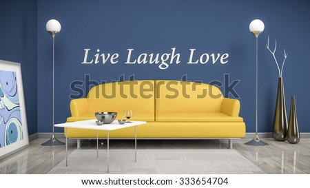 3d interior render image of an orange sofa in a blue room with the text live laugh love on the wall - stock photo