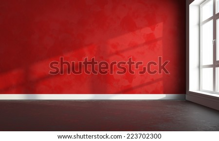 3d interior render of empty bright wall and floor  - stock photo