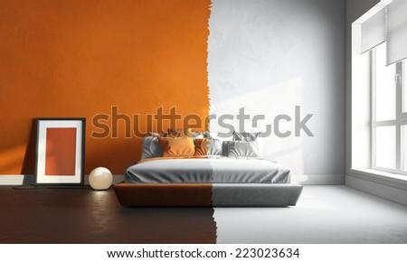 3d interior render of orange-white bedroom - stock photo