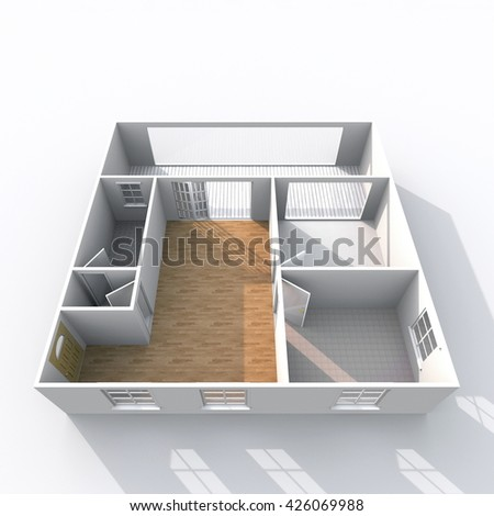 3d interior rendering oblique view of empty home apartment with pavement materials: room, bathroom, bedroom, kitchen, living-room, hall, entrance, door, window - stock photo