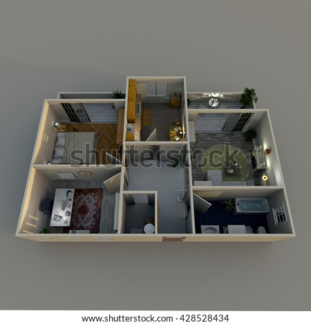 3d interior rendering oblique view of furnished home apartment by night: room, bathroom, bedroom, kitchen, living-room, hall, entrance, door, window, balcony