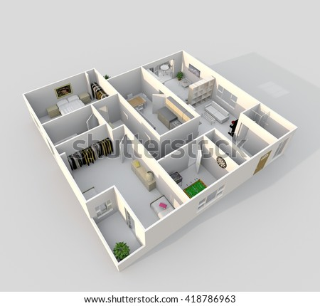 3d Interior Rendering Oblique View Of Furnished Home Apartment Room Bathroom Bedroom