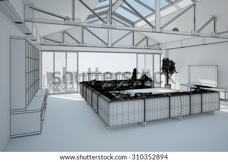 3D interior rendering of a living room