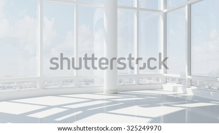 3D Interior rendering of an empty office building with skyline and many windows