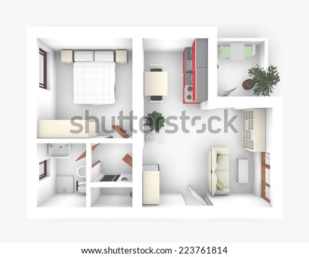 3D interior rendering of apartment roofless - stock photo