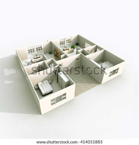 3d Interior Rendering Of Double Furnished Apartment Room Bedroom Bathroom Living