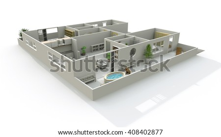 3d interior rendering of double home apartment with terrace