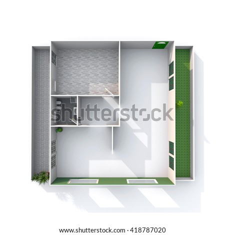 3d interior rendering empty architectural paper stock illustration