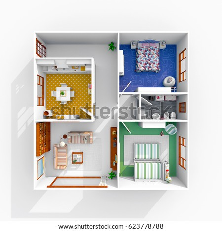 3d interior rendering of furnished home apartment - 3d House Plans