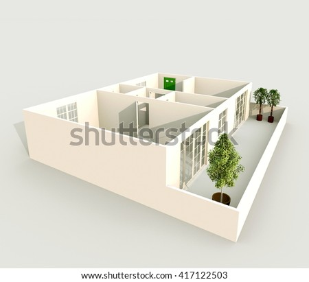 3d Interior Rendering Of Oblique View Home Apartment Room Bathroom Bedroom