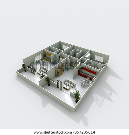 3d interior rendering of roofless apartment with furnishings