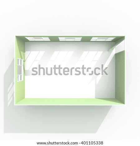 3D interior rendering of roofless empty room with windows and opened door - stock photo