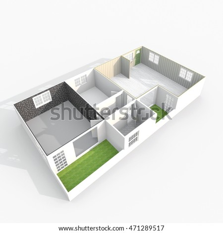 3d interior rendering perspective view of empty paper model home apartment with balconies