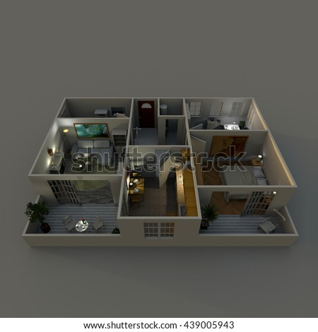 3d Interior Rendering Perspective View Of Furnished Home Apartment With Turned On Lights By Night