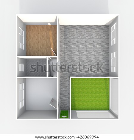 3d interior rendering plan view of empty home apartment with pavement materials: room, bathroom, bedroom, kitchen, living-room, hall, entrance, door, window - stock photo