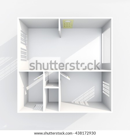 3d Interior Rendering Plan View Of Empty Paper Model Home Apartment Room Bathroom
