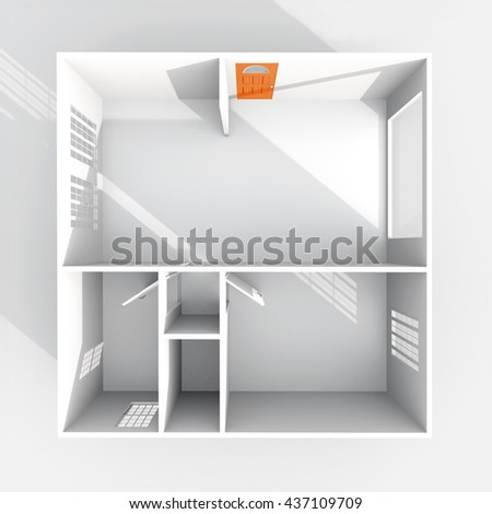 3d Interior Rendering Plan View Of Empty Paper Model Home Apartment With Orange Door Room
