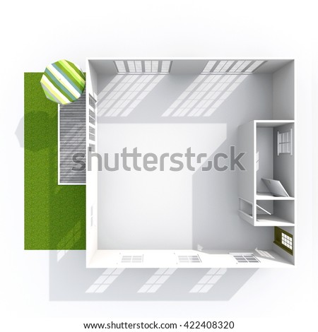 3d interior rendering plan view of empty roofless home apartment with green patio and beach umbrella: room, bathroom, bedroom, kitchen, living-room, hall, entrance, door, window - stock photo