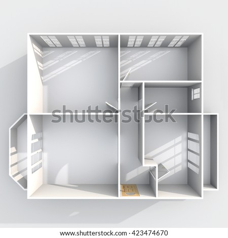3d interior rendering plan view of empty roofless home apartment with two balconies: room, bathroom, bedroom, kitchen, living-room, hall, entrance, door, window - stock photo