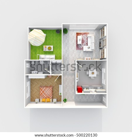 3d Interior Rendering Plan View Of Furnished Home Apartment Room Bathroom Bedroom