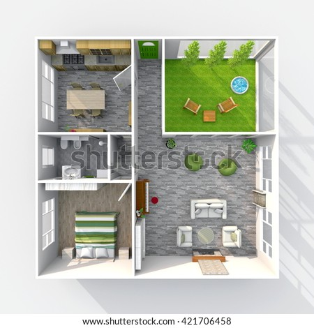 3d Interior Rendering Plan View Furnished Stock