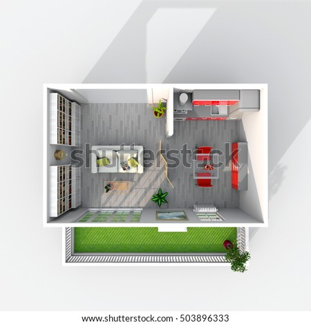 3d Interior Rendering Plan View Of Furnished Kitchen And Living Room Apartment With Balcony