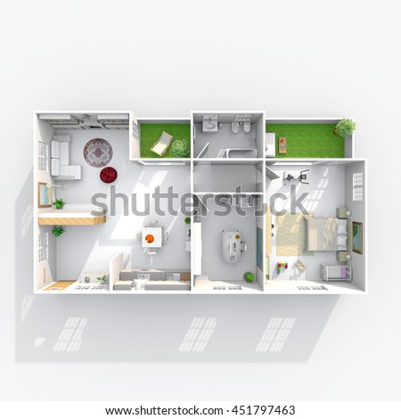 3d Interior Rendering Plan View Of Rectangular Furnished Home Apartment Room Bathroom Bedroom