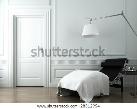 3d interior scene of chaise lounge on a classic white wall - stock photo
