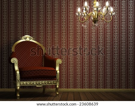 3D interior scene with classic armchair and lamp - stock photo