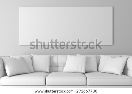 3d interior setup with couch and blank poster - stock photo