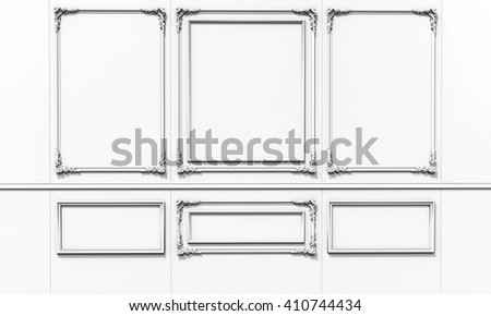 3d interior wall decoration on white background 3D illustration - stock photo