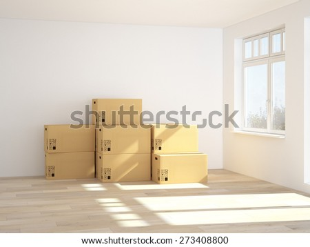 3d Interior with moving boxes. 3d rendering - stock photo