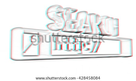 3d internet search string.Business and technology on a white background. Pencil drawing. 3D illustration. Anaglyph. View with red/cyan glasses to see in 3D. - stock photo