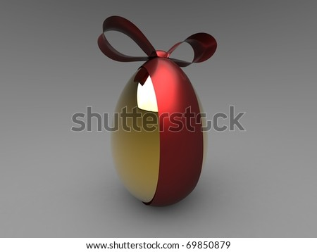 3d isolate illustration of golden egg with red ribbon