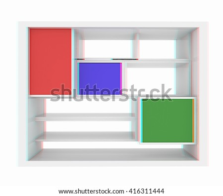 3d isolated Empty colorful bookshelf on a white background. 3D illustration. Anaglyph. View with red/cyan glasses to see in 3D. - stock photo