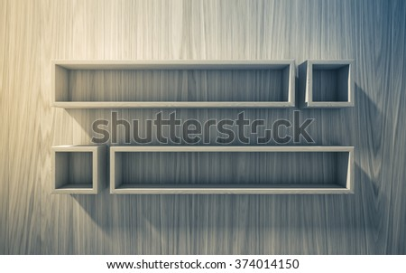 3d isolated Empty shelf for exhibit on wood background, concept