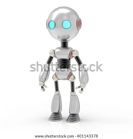 3D Isolated Humanoid Robot Illustration. Futuristic Cyborg Background. - stock photo