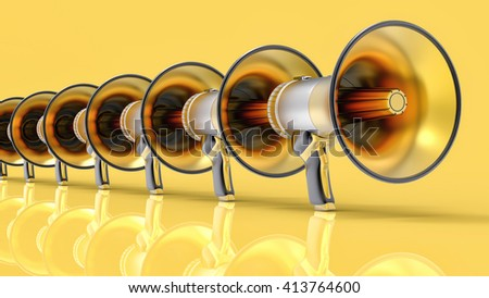 3D Isolated Megaphone Group Illustration. Communication or Alert Concept. - stock photo