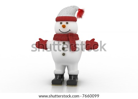 3d isolated toy snowman