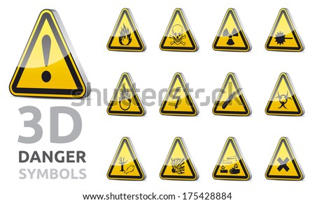 3D isolated Triangle danger and warning sign collection with reflection, shadow on white background - stock photo